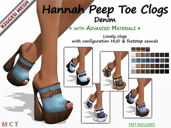 Hannah Peep Toe Clogs - Denim Edition