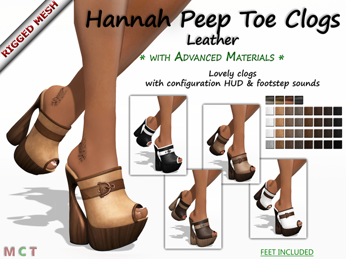 Hannah Peep Toe Clogs - Leather Edition
