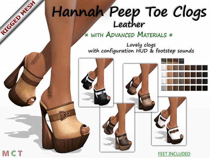 Hannah Peep Toe Clogs - Leather Edition