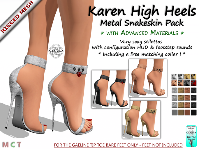 Karen High Heels - Metal Snakeskin Edition